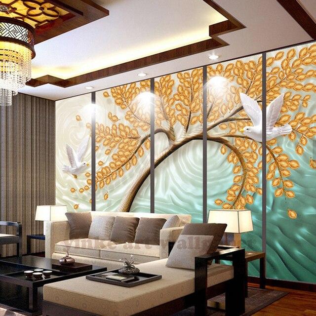 Semplice naturale albero foglia gialla 3D carta da parati foto ...