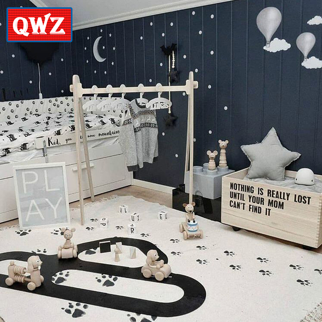 Qwz Dog Footprints Kids Baby Children Play Floor Rug Mat Carpet Tee Nursery
