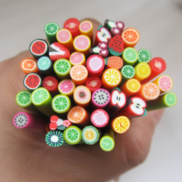 Colorful 3d fimo rods nail art sticks polymer clay fruit for 3d nail art fimo canes rods decoration