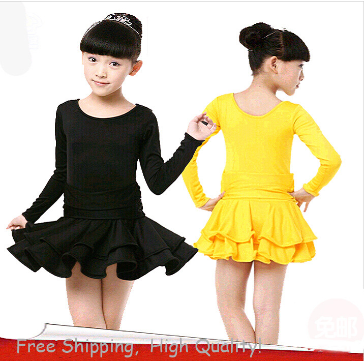 Free Shipping Long Sleeves Latin Dance Dress Girls Latin Ballroom Dress Samba Costume Children Ballrom Dancing Salsa Dance Wear