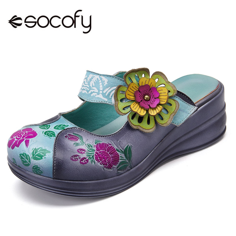 Socofy Genuine Leather Round Toe Platform Slippers Women Shoes Hook&Loop Vintage Flower Bohemian Summer Beach Slippers Slides socofy bohemian genuine leather shoes women sandals vintage printing forest hook loop wedge heel women slippers summer new