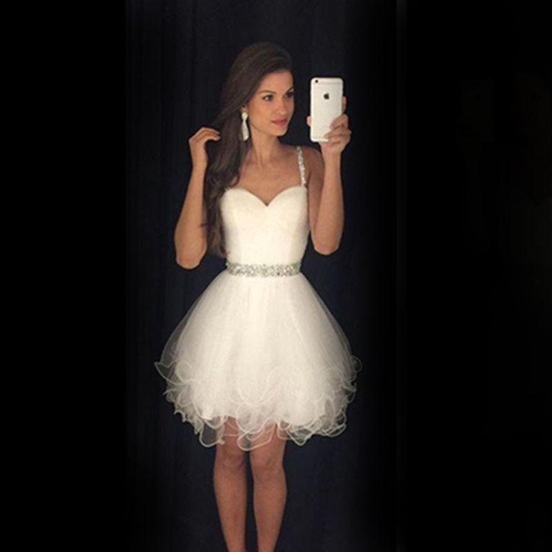 323e0d766 Precioso Vestido de Boda blanco corto 2016 sweetheart correa de espagueti  de tul corto vestido de baile vestido de coctail partido de los vestidos de  coctel ...