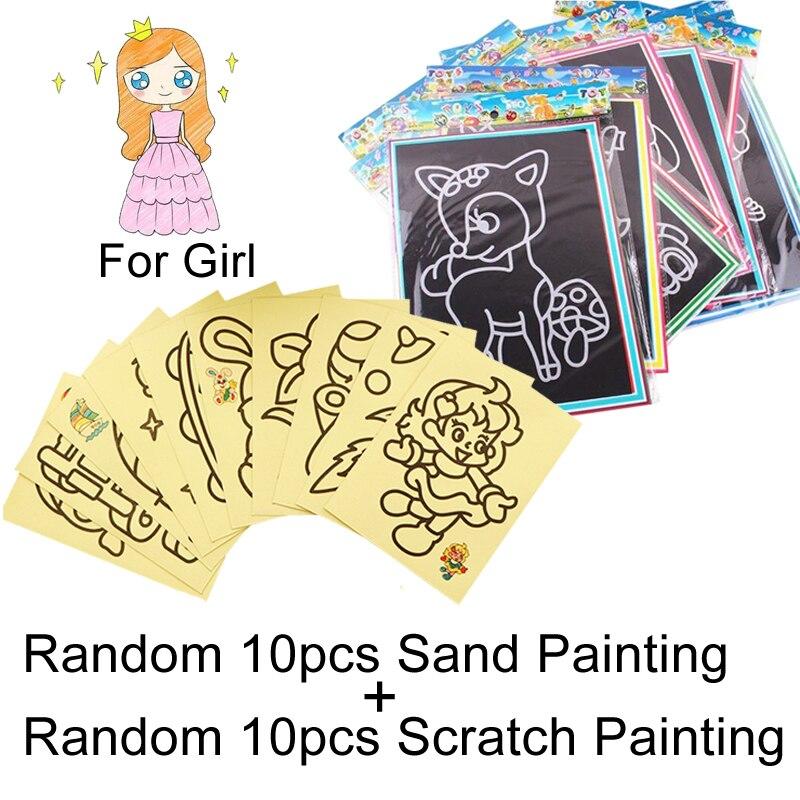 20 шт/10 шт магический скретч-арт-блокнот для рисования песком карты для раннего обучения, творческие игрушки для рисования для детей GYH - Цвет: 10SScratch10SandGril