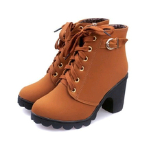 цена на Size35-41Autumn Winter Women's Ankle Boot Fashion Casual High-Heeled Martin Boots Thick With Warm Student Tide Women's Boots