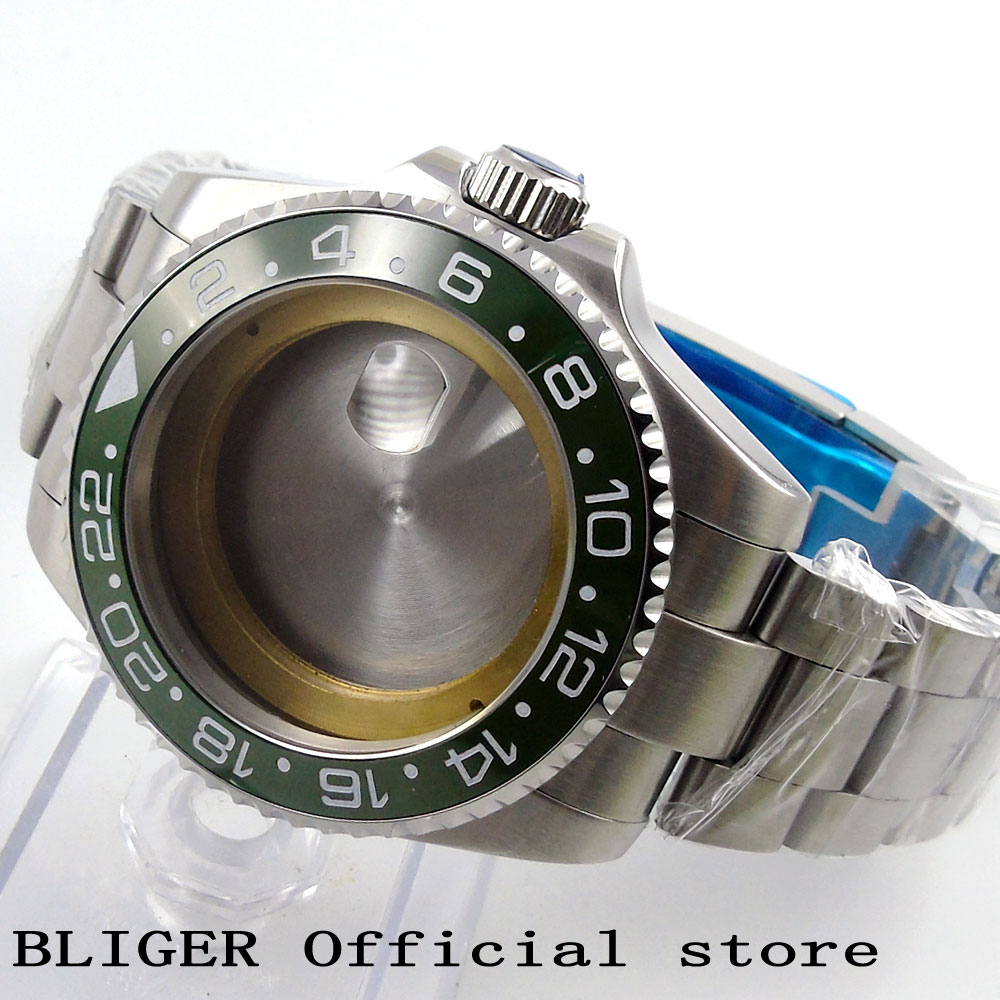 Sapphire 43MM Stainless Steel Green Ceramic Bezel Watch Case With Stainless Steel Bracelet Fit For ETA2836 Movement C55