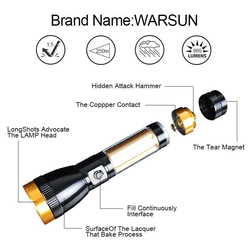 WARSUN Portable Linternas Led 3 Modes Lanterna Led Tactical Flashlight Outdoor Camping Torch Zaklamp Gladiator Flash Light