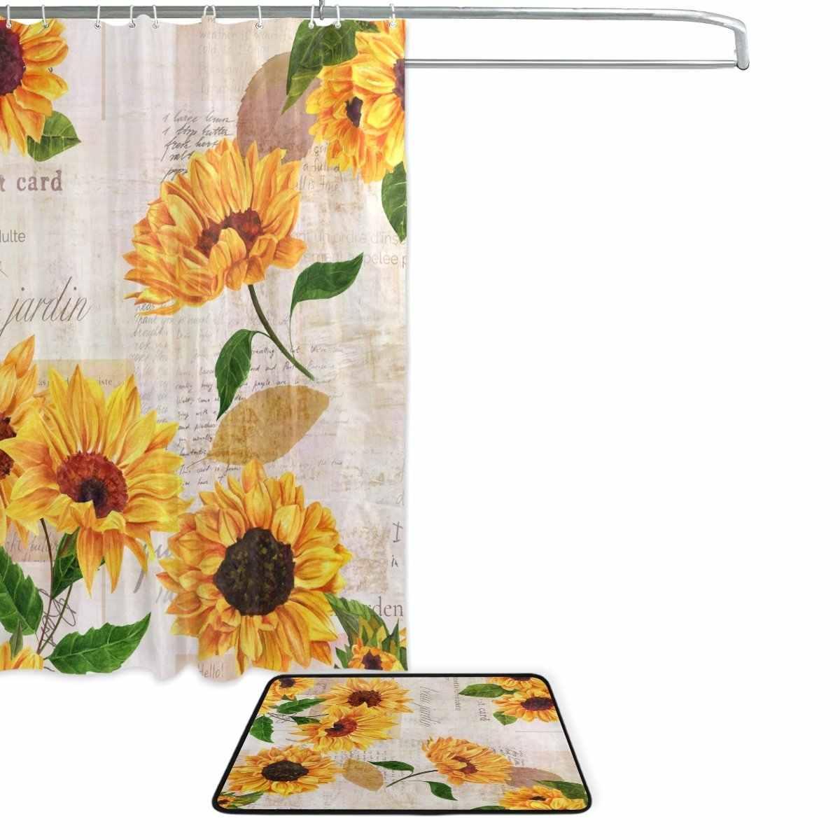 Summer Sunflower Shower Curtain And Mat Set Vintage Retro Floral Waterproof Fabric Bathroom Curtain