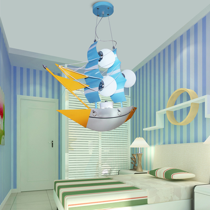 Children's pendant lights sailing boats pirate ships ship boys rooms bedroom decorative creative cartoon lighting lamps ZA82138 see inside pirate ships