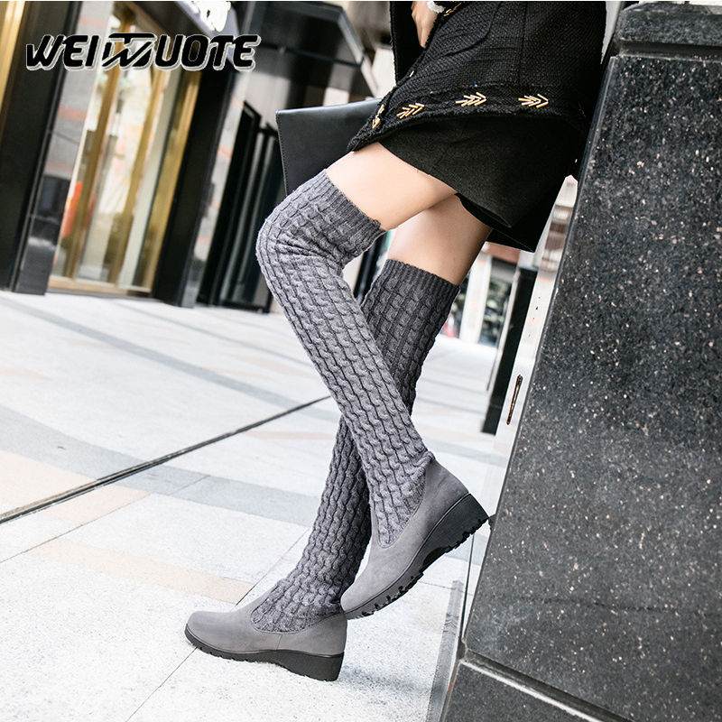 Sock Boots Heels woman shoes winter boots for women thigh high boots long Knee Boots Ladies Thick Heels ladies shoes Botas 2017 fashion winter platform boots knee high heels women shoes woman zapatillas botas zapatos mujer zip for ladies party shoes