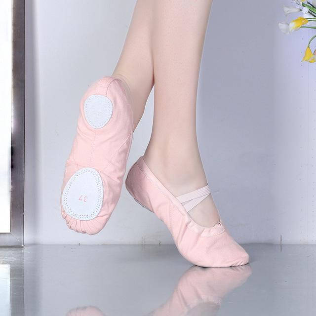 Canvas ballet flats Soft Balleria Dance Shoe For Women Split Cow Leather Outsoles Gym Yoga Dance sport Shoes Girls Toe