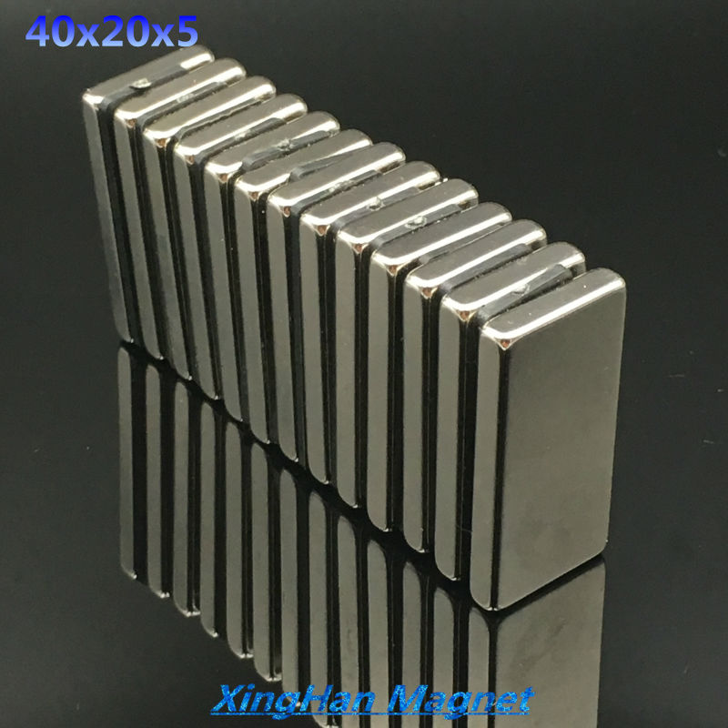 1pcs 40mm x 20mm x 5mm Super Strong Neodymium magnet Rare Earth N35 Magnet 40*20*5 Nickel 40x20x5 NEW magnet metal