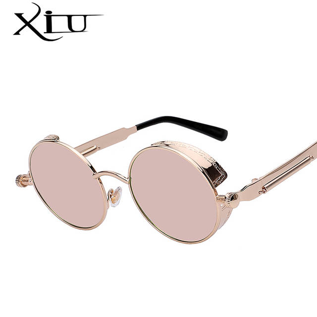 840101ffc8 Round Metal Sunglasses Steampunk Men Women Fashion Glasses Brand Designer Retro  Vintage Sunglasses UV400