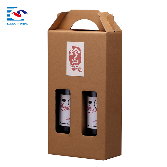 Logo Printed Custom Two Packed Red Wine Paper Packaging Box With Window