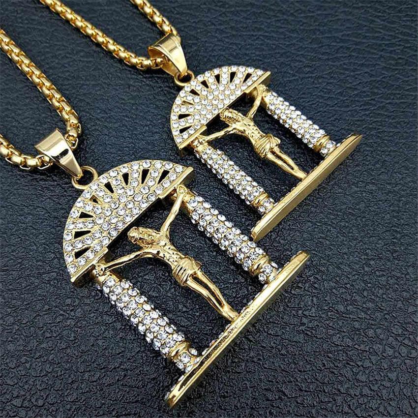 Hip Hop พระเยซูคริสต์ CROSS จี้สร้อยคอ Iced OUT Bling GOLD สีสแตนเลสสตีลกางเขนสร้อยคอชายคริสเตียนเครื่องประดับ