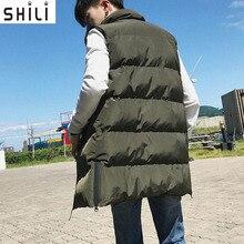 Fashion Men Coat 2017 Winter Warm Slim Long Waistcoat Zipper Cotton Jacket Vest Coat Sleeveless Parkas M-5XL