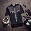 Горячие продаем 2016 fashion show cross заклепки хип-хоп моды случайные футболки мужчин рубашка Пространство хлопка с коротким рукавом О шеи Футболку преступления