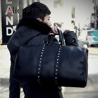 Vintage Pu Leather Men Travel Bags Carry On Luggage Bags Men Rivet Duffel Bags Travel Tote
