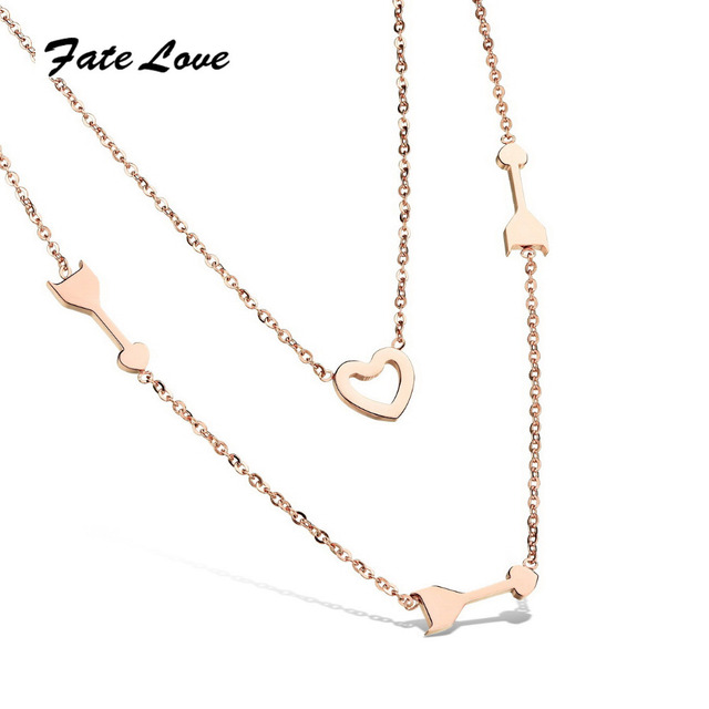 Fate Love Simple Heart Layered Pendant Rose Gold Color Steel Double