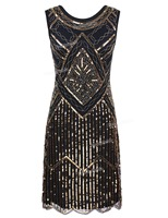PrettyGuide Women Vintage 1920s Great Gatsby Sequin Beaded Double Side Scalloped Hem Flapper Cocktail Dress