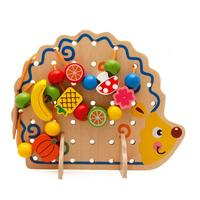 Baby Toys Hedgehog Fruits String Of Beads Wooden Hedgehog Fruits String Beads Baby Child Educational Toy
