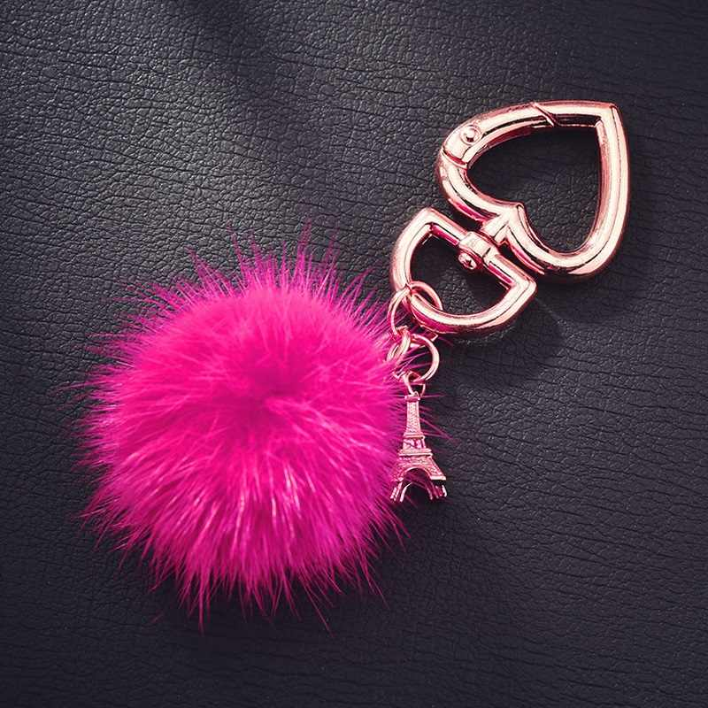 Fake Rabbit Ball Metal Keychain Eiffel Tower New Lover Car Keyrings Jewelry Gift Heart Fur Pompom Keychain For Women Gifts