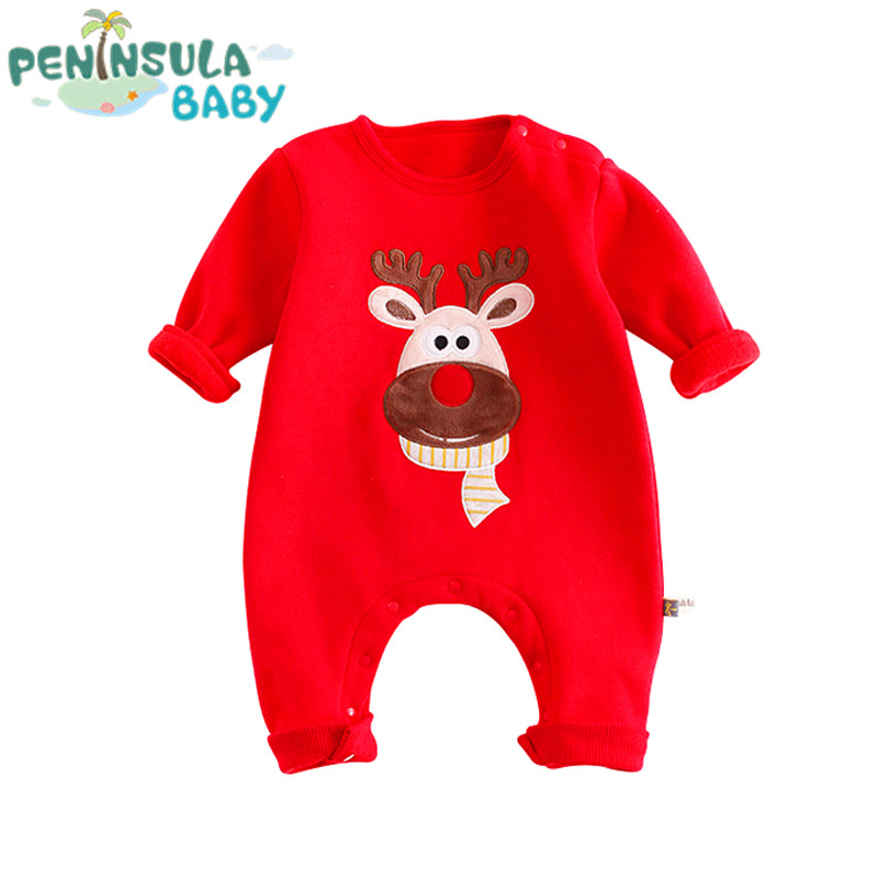 Newborn Baby Long Sleeve Infant Cartoon Jumpsuit Boys And Girls Christmas Clothes Gift Toddler Rompers Infant Baby Red Costumes newborn baby girls rompers 100% cotton long sleeve angel wings leisure body suit clothing toddler jumpsuit infant boys clothes