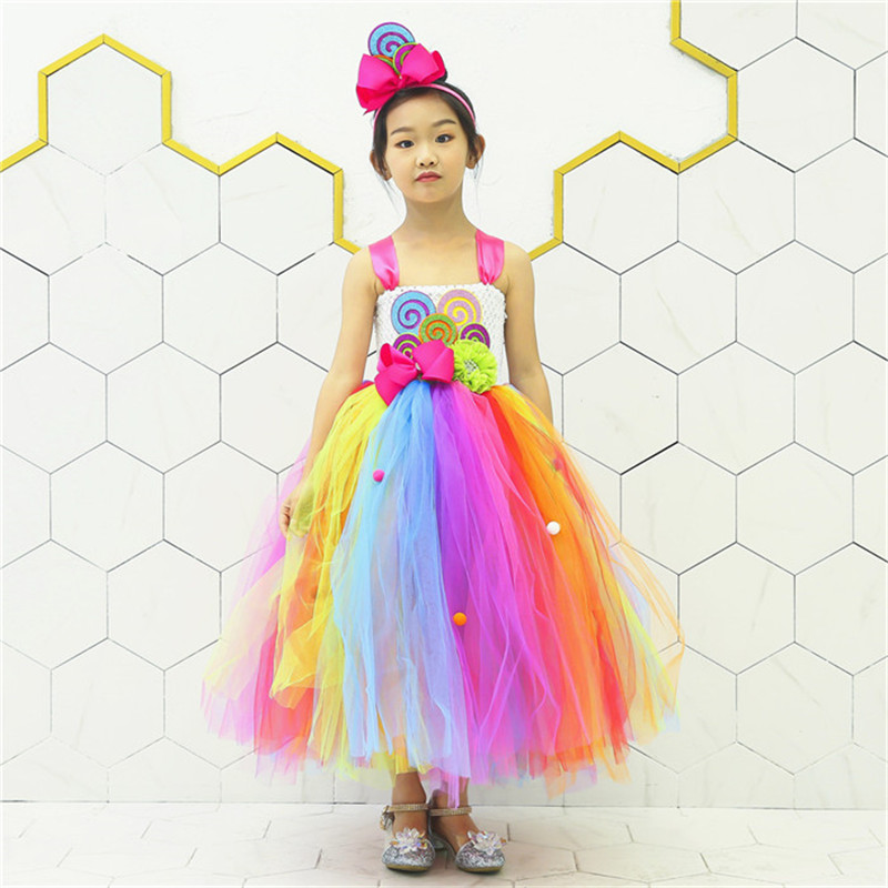 New Sweet Rainbow Candy Girl Tutu Dress Birthday Child Kids Cute Colorful Balls Flower Bow Candy Cake Cosplay Tulle Tutu Dresses