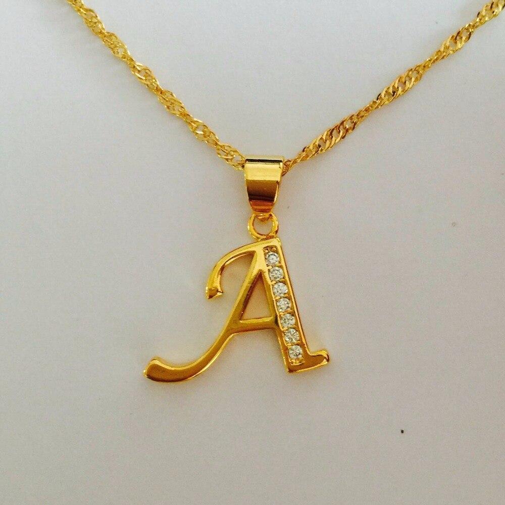 Fashion Elegance OL Style 24K gold plated letter A cz diament charm  Long Pendant Necklace Factory Wholesale crucifixo pingente de ouro masculino
