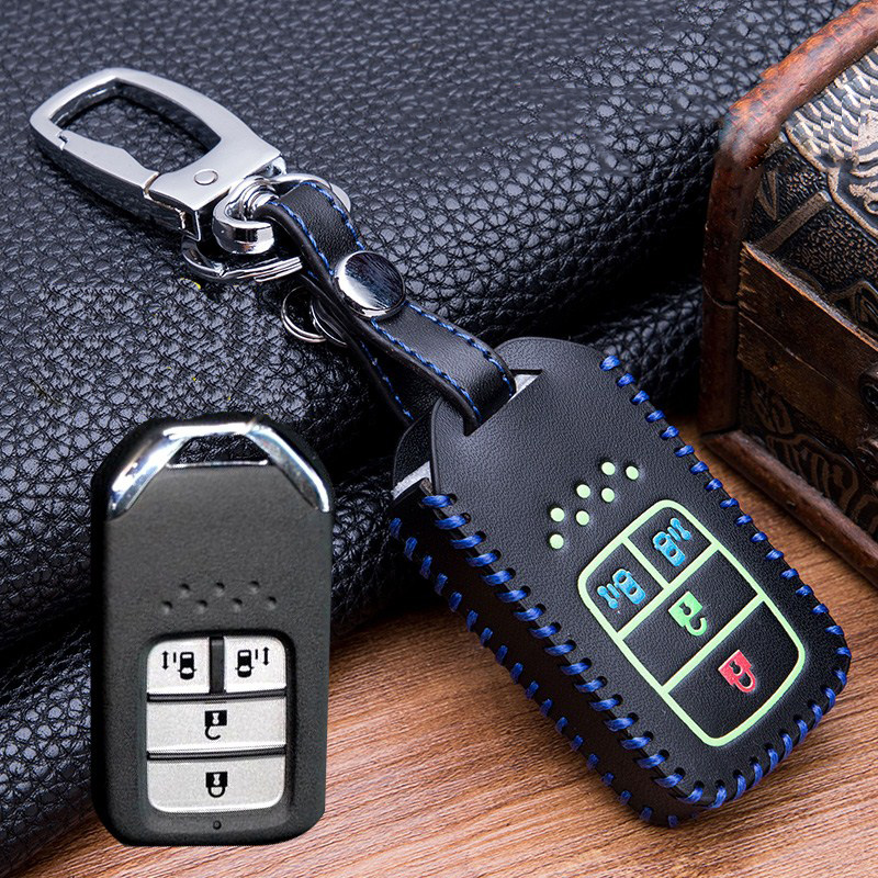 Image 5 - Hand sewing Luminous Leather Smart  Car Key Protect Cover Case For Honda Civic Accord EX EXL Crv Crz Hrv Shell Accessories-in Key Case for Car from Automobiles & Motorcycles