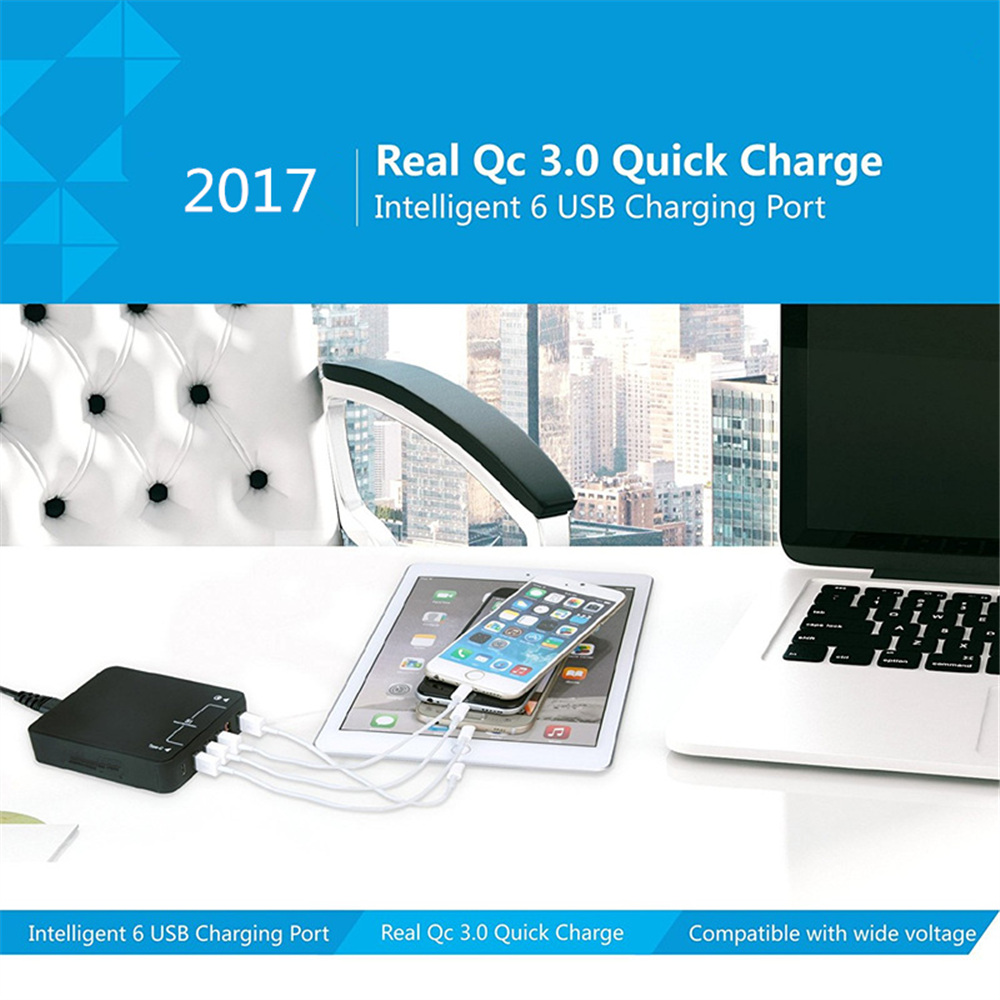 6 Ports QC Quick charge 3.0 universal mobile phone USB <font><b>charger</b></font> for Samsung S8/S7 Edge <font><b>LG</b></font> <font><b>G5</b></font> Xiaomi 5 iPhone iPad iPod EU/US Plug
