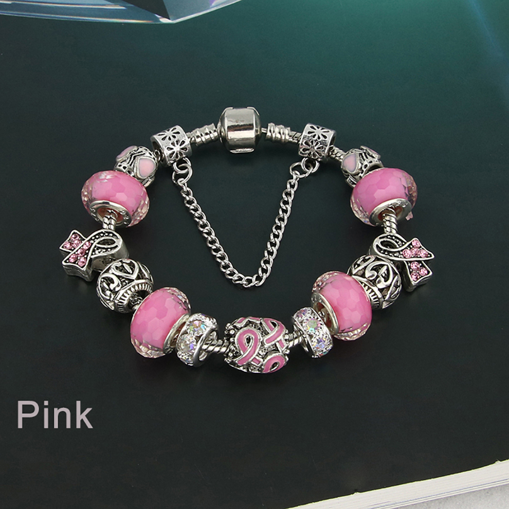 Glass Bead Charm Bracelet - pink