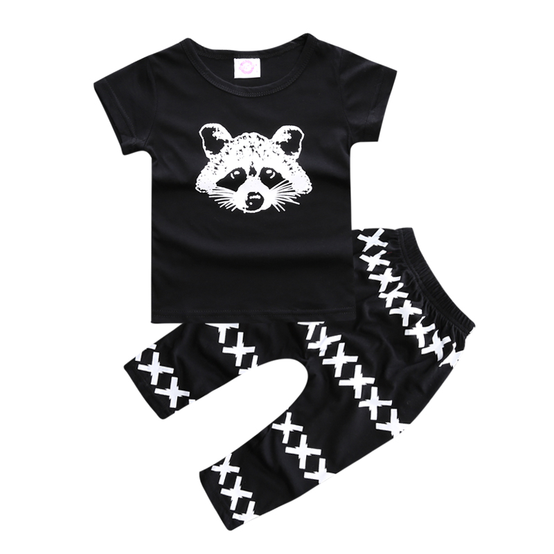 Infant Baby Clothing Sets boy clothes set kids  Spring Autumn Outfits Set black love shirt +Black and white striped pants