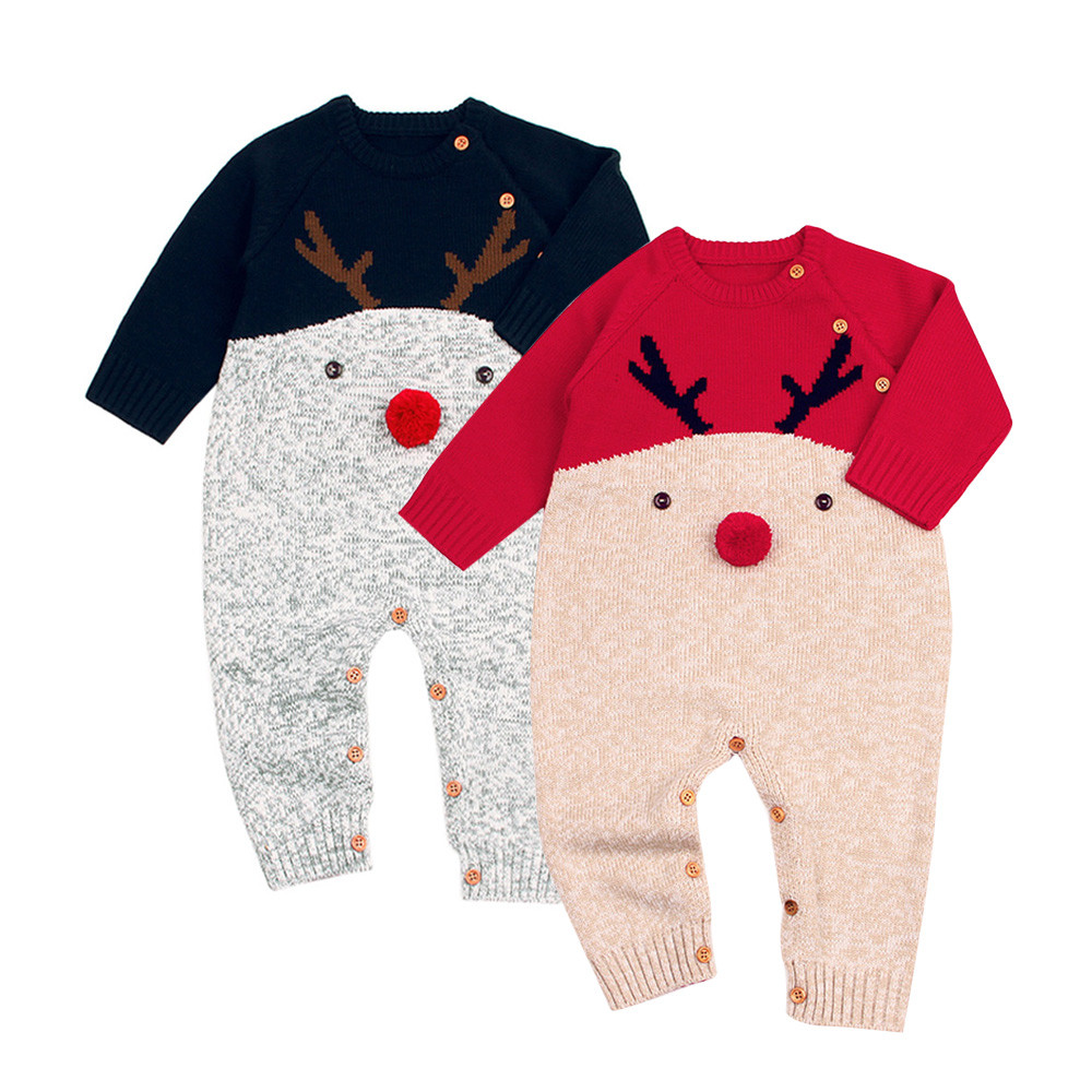Free Shipping Christmas Deer Toddler Boys Girls Baby Knitted Romper Jumpsuit Outfits Clothes For 0-24 Months Babies Clothes #YL цена