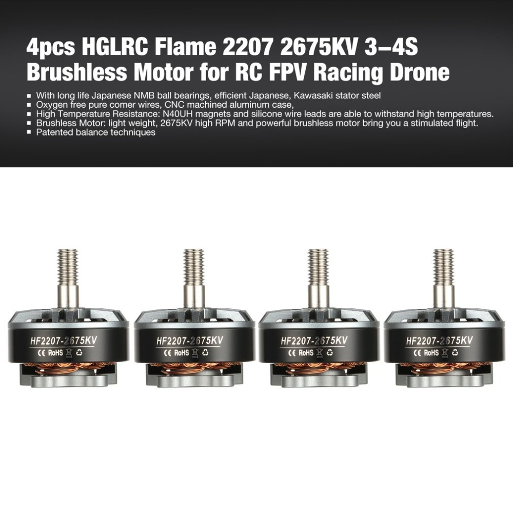 4pcs HGLRC Flame 2207 2675KV 3-4S Brushless Motor for RC FPV Racing Drone Airplane Helicopter Multicopter Propeller 4pcs set 2207 brushless motor 2100kv 2207 motor rc engine for multicopter quadcopter fpv racing drone