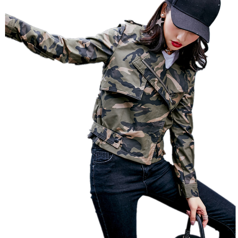 Camo Printed   Leather   Punk Faux Jacket jaquetas couro Casaco chaqueta PU Camouflage Jacket