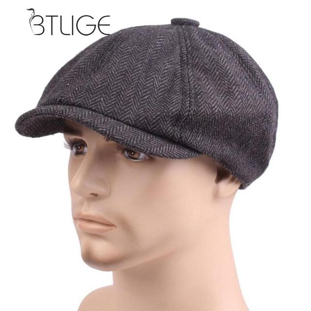 BTLIGE Newsboy Cap Grid Boina French Beret Hat Men Womens Winter Knitting  Flat Cap Clothing Accessories 57939daae98
