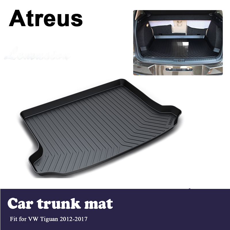 Atreus Car Trunk Cargo Floor Liner Tray Mat Cover Protection Blanket For Volkswagen VW Tiguan 2012 2013 2014 2015 2016 2017 fit for volkswagen vw tiguan rear trunk scuff plate stainless steel 2010 2011 2012 2013 tiguan car styling auto accessories
