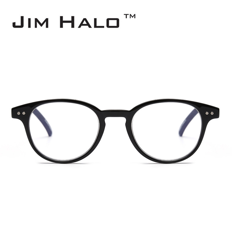 Jim Halo Anti Blue Light Retro Spring Hinge Round Computer Reading Glasses Gaming Readers Reduce Eye Fatigue Eyeglasses