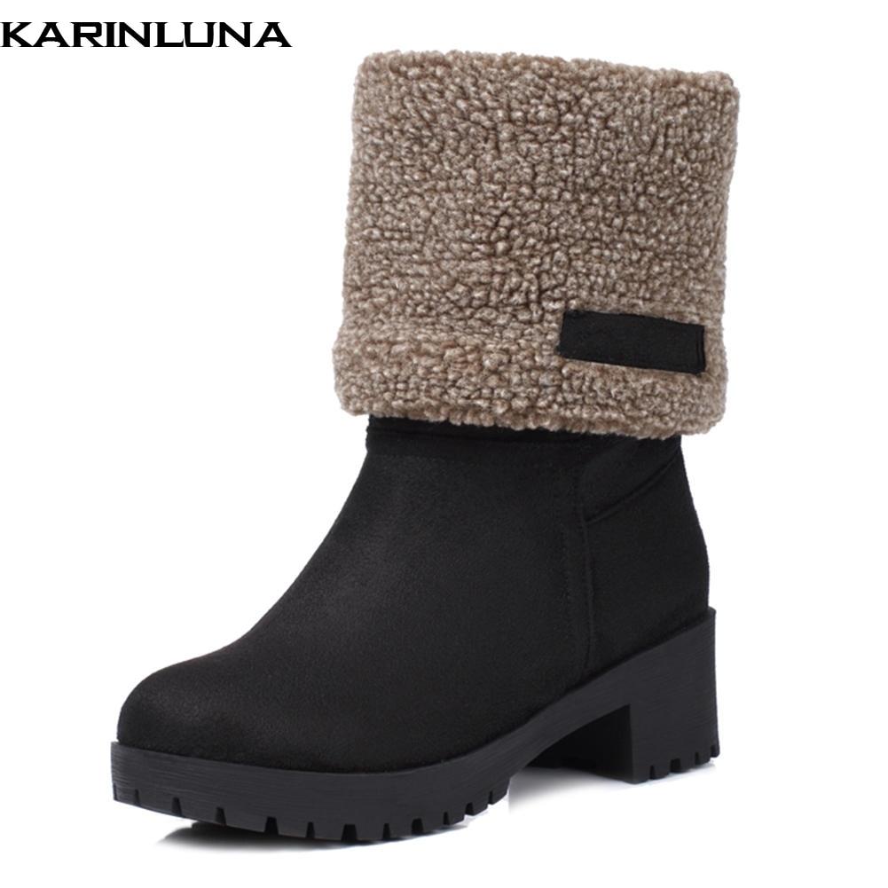a21e07d70 Quente 43 Arrivals khaki Botas Das Preto Deslizar Inverno Mulheres Sapatos  Grande Pelúcia cinza Sobre Rússia ...