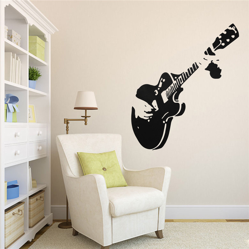 Home Decor Mural Art Wall Paper Stickers ~ Black pvc guitar guitarist music wall sticker home art