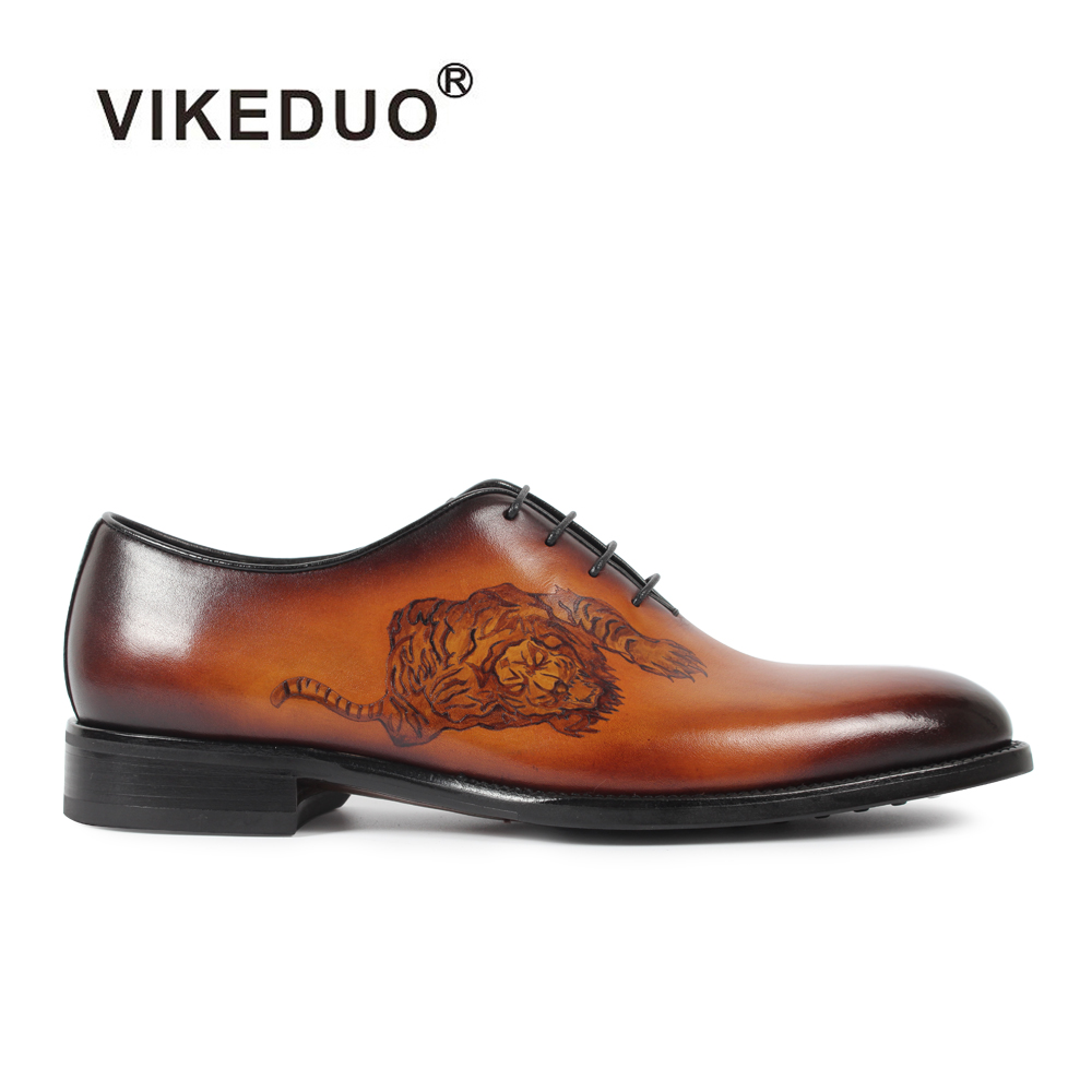 Vikeduo Vintage Handmade Patined Genuine Leather Shoe Lace Up Wedding Dress Office Party Shoe Original Design Mens Oxford Shoes цены онлайн