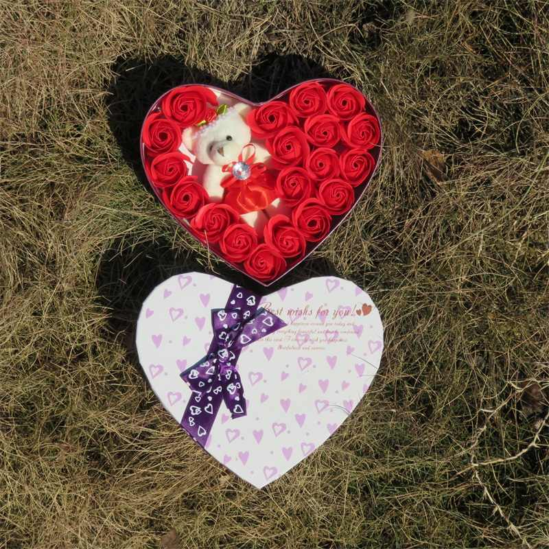 Urso de peluche bonito brinquedos de pelúcia com flores de sabão da forma do coração caixa de presente criativo presente de aniversário Dos Namorados Romântico Decoração Festa de Casamento