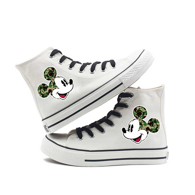 Mickey Head portrait Printing Cartoon high top breathable canvas uppers sneakers student personalise fashion Sandshoes
