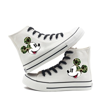 Mickey Head portrait Printing Cartoon high top breathable canvas uppers sneakers student personalise fashion Sandshoes printing justice league hero cool cartoon logo high top breathable canvas uppers sneakers student personali fashion casual shoes