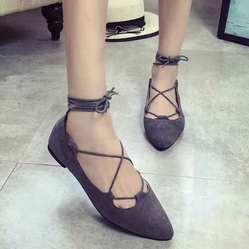 Women Flats Pointed Toe Shallow Mouth Single Shoes Casual Flat Low Lace Up Shoes Ladies Slip on Gladiator Ballet Pumps Shoes lin king fashion pearl pointed toe women flats shoes new arrive flock casual ladies shoes comfortable shallow mouth single shoes