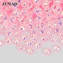 JUNAO 4 5 6 mm Pink AB Flower Rhinestone Sticker Nail Crystal Stones Flatback Resin Gems Non Sew Strass for DIY Jewelry Crafts