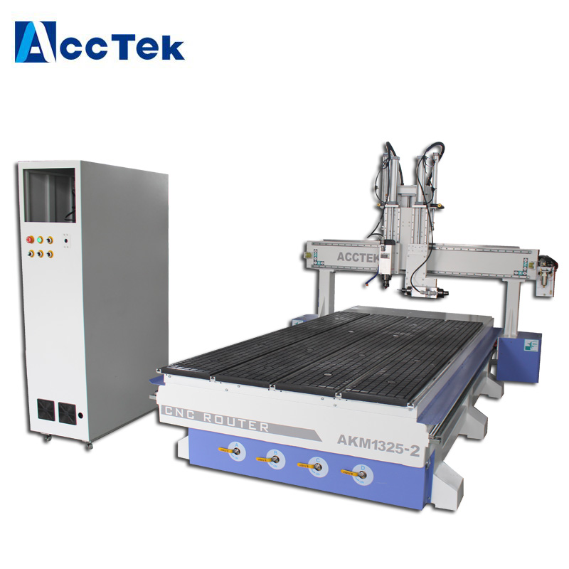 Door Equipment Vacuum Table 1325 Cnc Milling Machine For Wood Double Spindles CE Standard