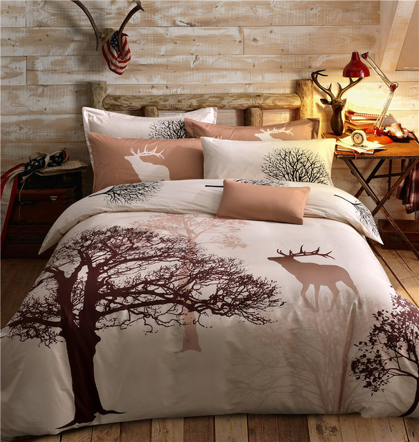 arbre et cerfs imprimer 100 coton 4 pcs housse de couette drap plat taie d 39 oreiller ensemble. Black Bedroom Furniture Sets. Home Design Ideas
