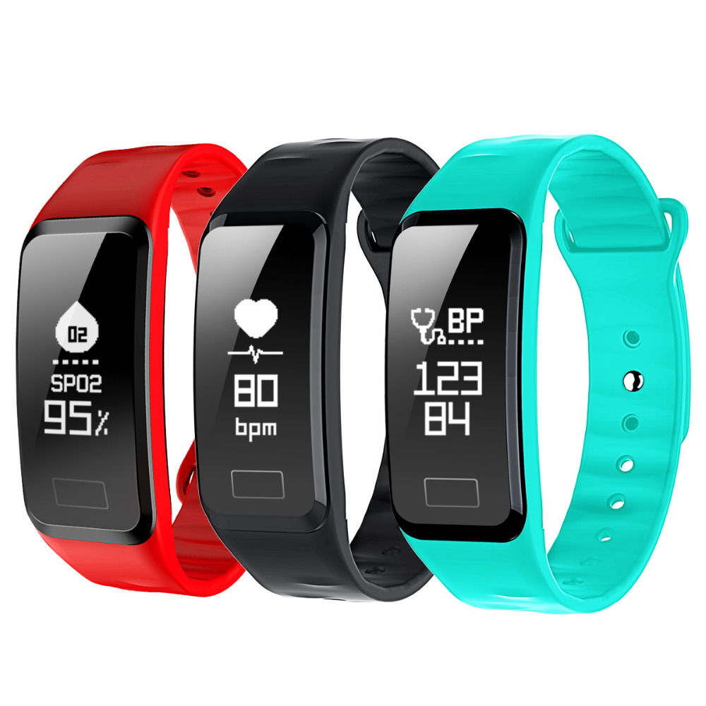HUACP R1 Smart Wristband Heart Rate Band Blood Pressure Bracelet Blood Oxygen Pedometer with iOS Android APP for Sport Fitness