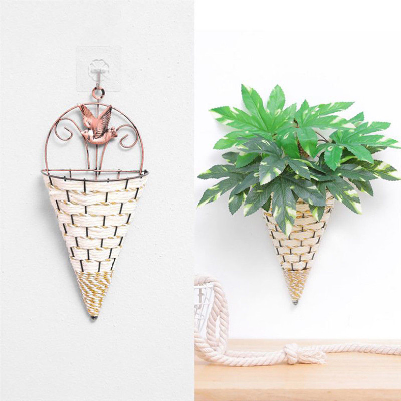 Natural Wicker Flower Basket Vase Rattan Wall Hanging Pot Planter Rattan Vase Basket Decor